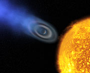 """Oxygen and carbon discovered in extrasolar planet atmosphere """"blow-off"""" [artist's impression]"""