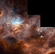 Hubble studies sequences of star formation in neighbouring galaxy [full WFPC2 frame]