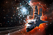 Space Shuttle Atlantis with Hubble