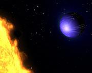Exotic blue planet HD 189733b (artist's impression)