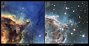 Visible and Infrared Comparison of NGC 2174