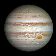 Jupiter and its shrunken Great Red Spot