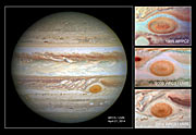 Jupiter with comparison images of the Great Red Spot from 1995, 2009 and 2014