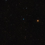 Wide field image of the region around two merging galaxies in SDSS J1531+3414 (ground based telescope)
