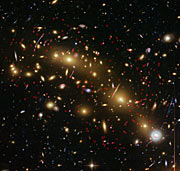 Colour image of galaxy cluster MCS J0416.1–2403, annotated