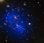 Galaxy cluster Abell 370 with dark matter map