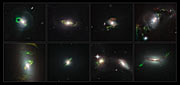 Hubble spies eight green filaments lit up by past quasar blasts
