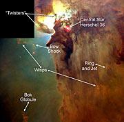 Giant 'Twisters' in the Lagoon Nebula