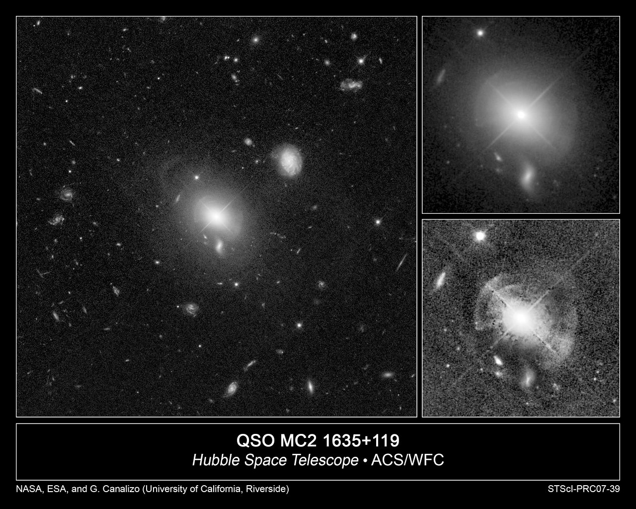 Hubble Spies Shells of Sparkling Stars Around Quasar