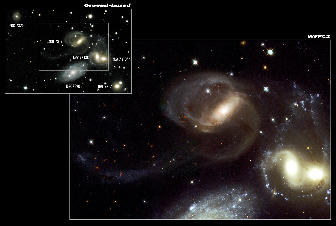 Stephan's Quintet - A Mammoth Cosmic Collision (composite)