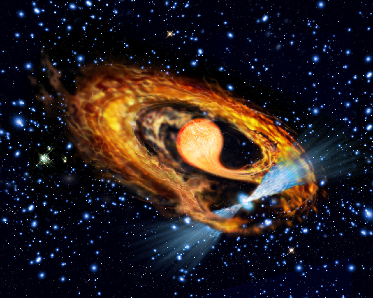 Artist's impression of millisecond pulsar and companion