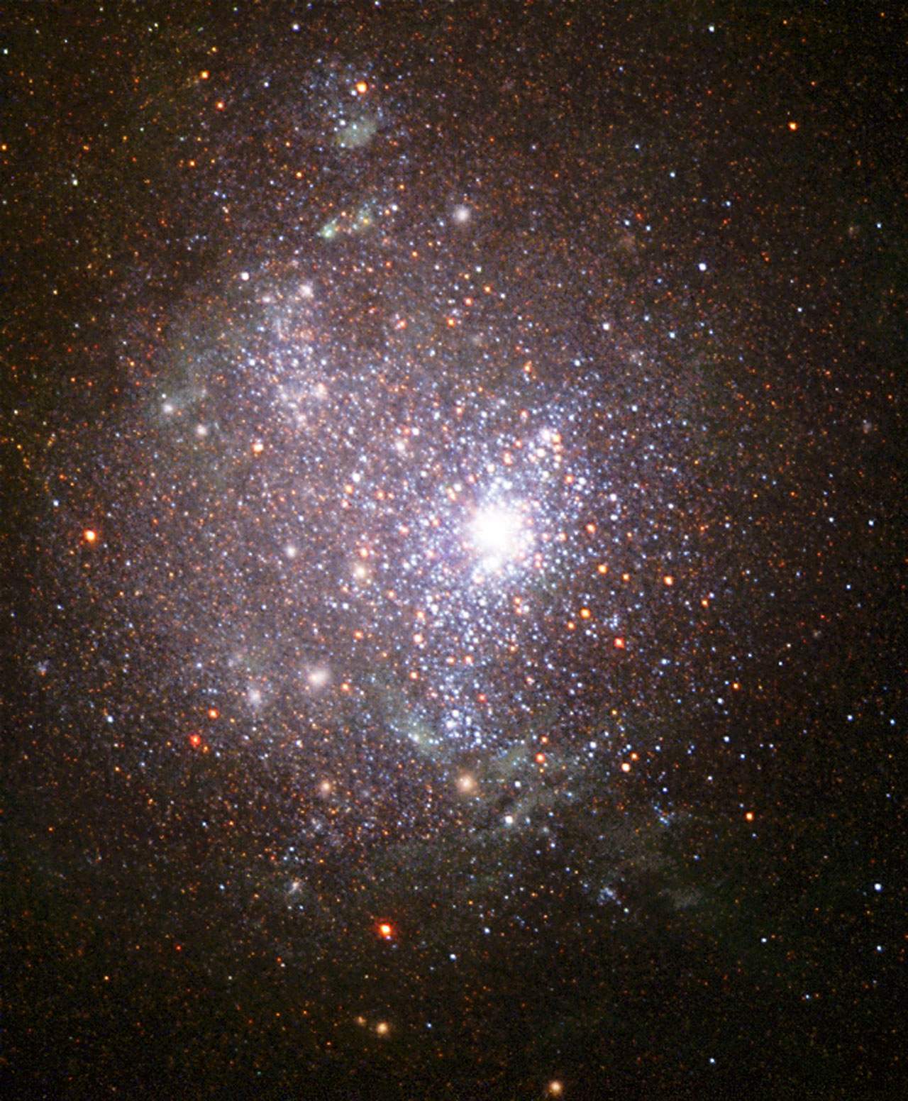 Blaze of stars in an old galaxy's core