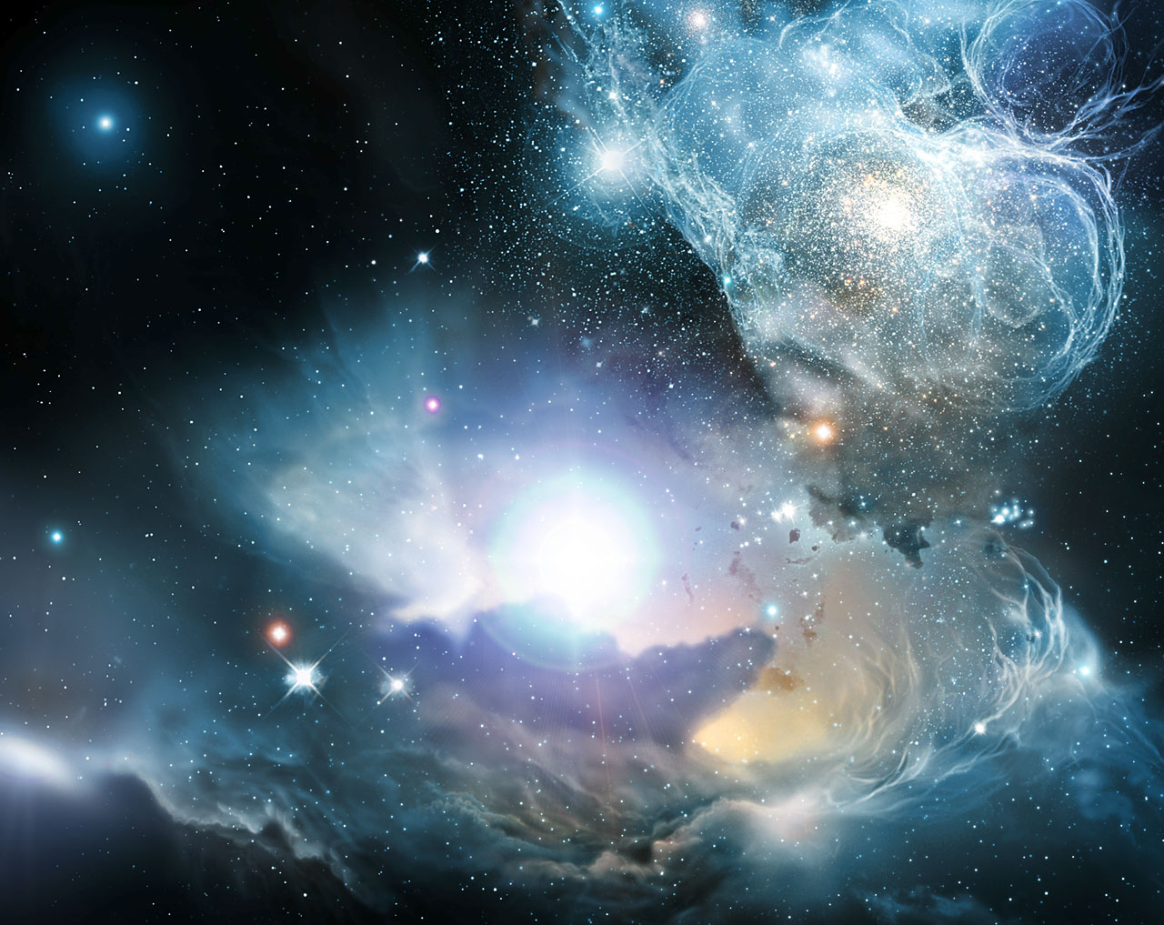 Finding the ashes of the first stars [artist's impression]
