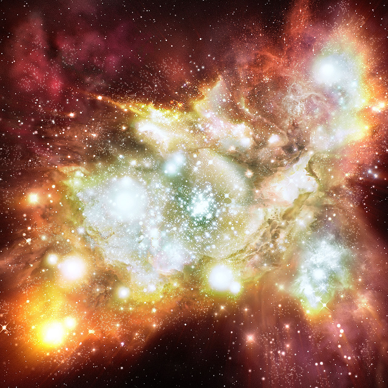 Mega starbirth cluster is biggest, brightest and hottest ever seen (artist's impression)