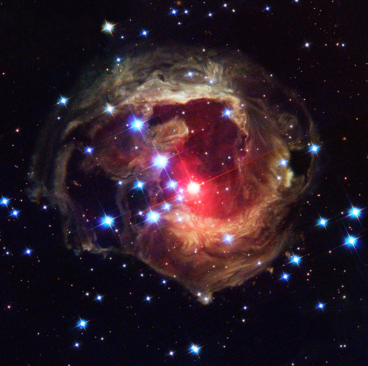 Light continues to echo three years after stellar outburst