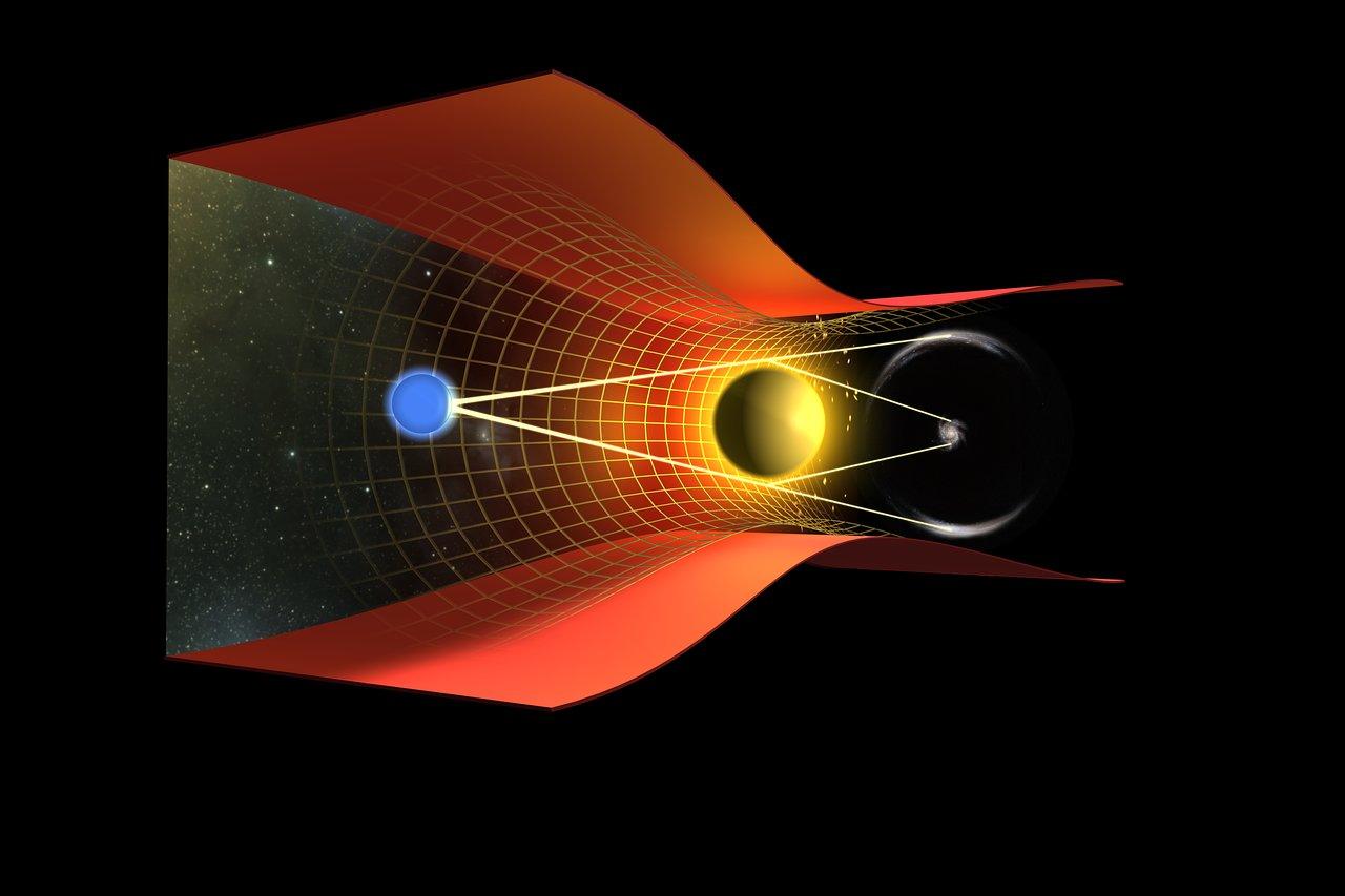Illustration of a gravitational lensing effect