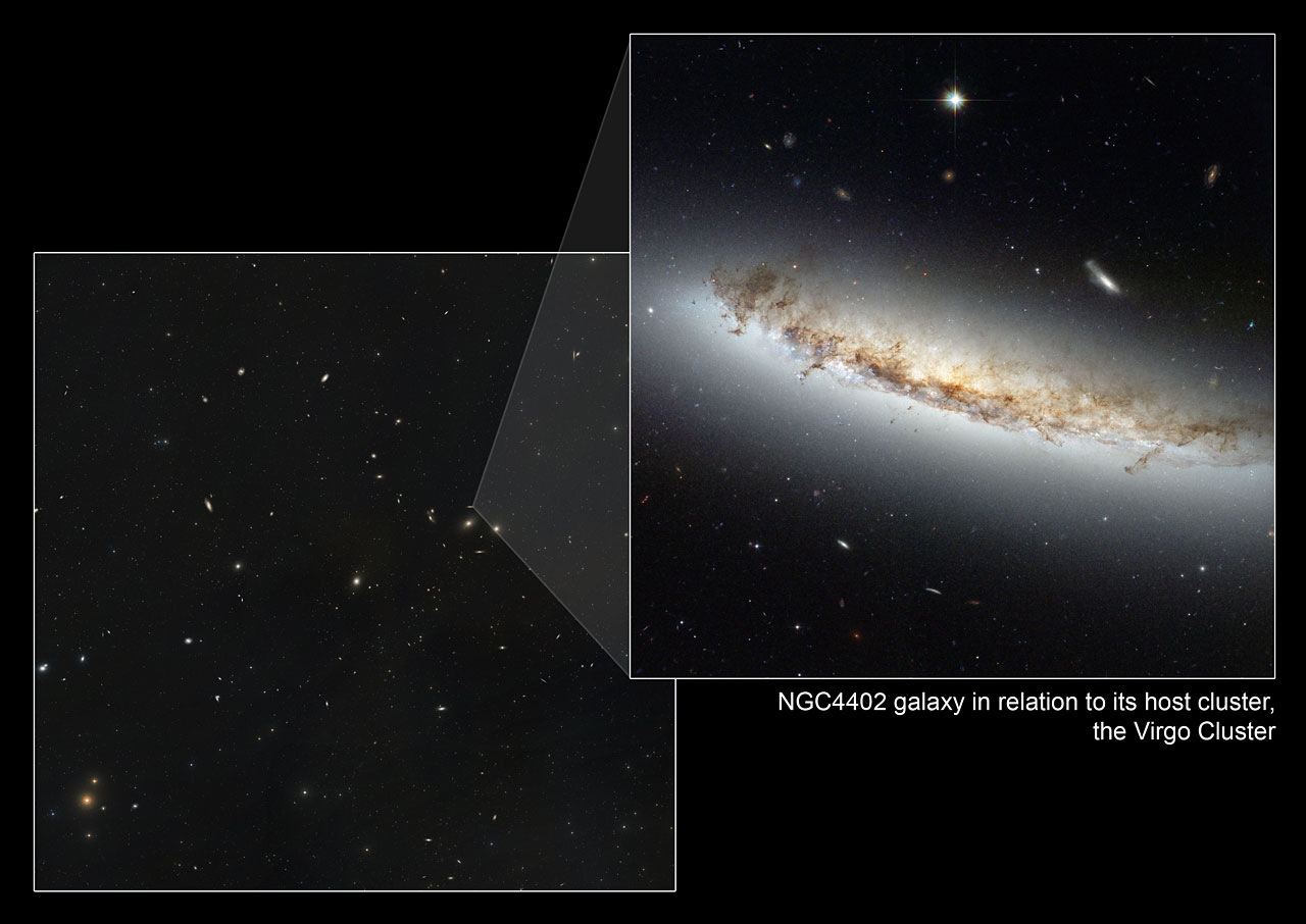 Composite image showing NGC 4402 within its home cluster