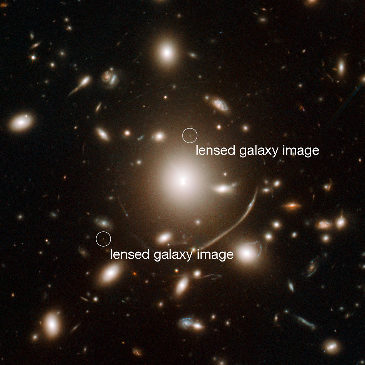 Annotated view of Abell 383