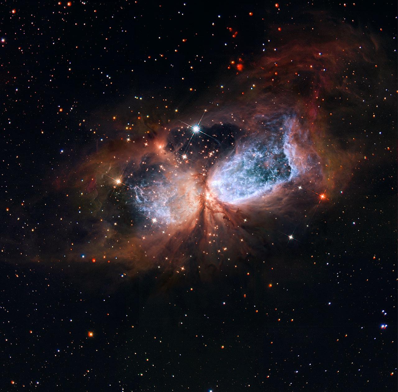 Hubble/Subaru composite of star-forming region S 106