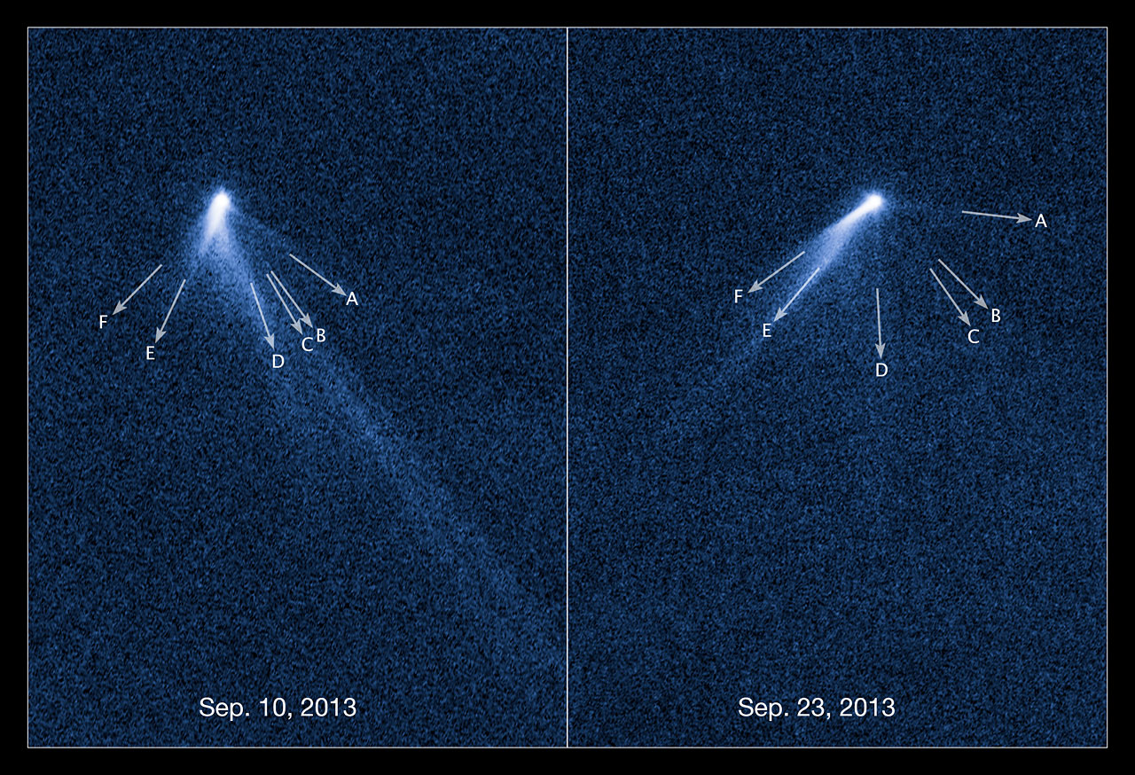 Labelled view of extraordinary multi-tailed asteroid P/2013 P5