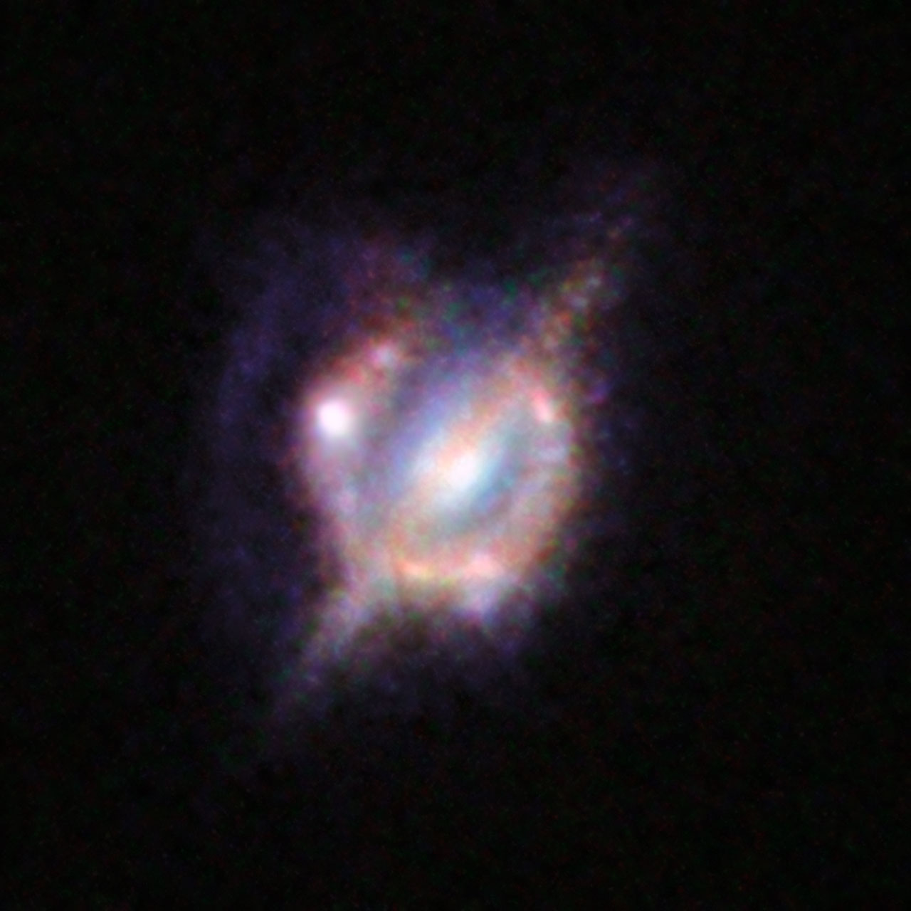 Merging galaxies in the distant Universe through a gravitational magnifying glass