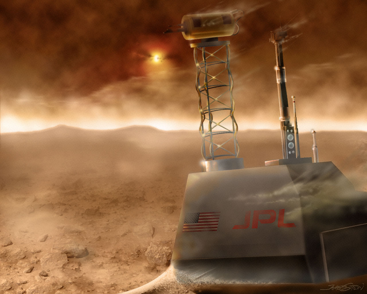 View of Martian Surface During Dust Storm (artist's impression)