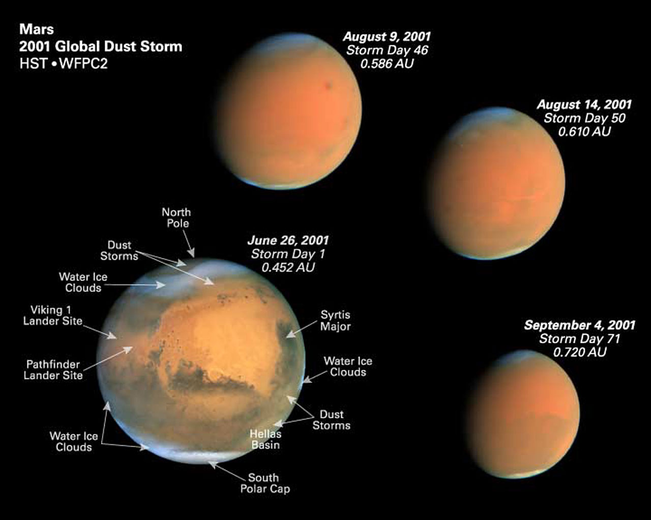 Four Epochs of the Global Dust Storm with Martian Features Identified