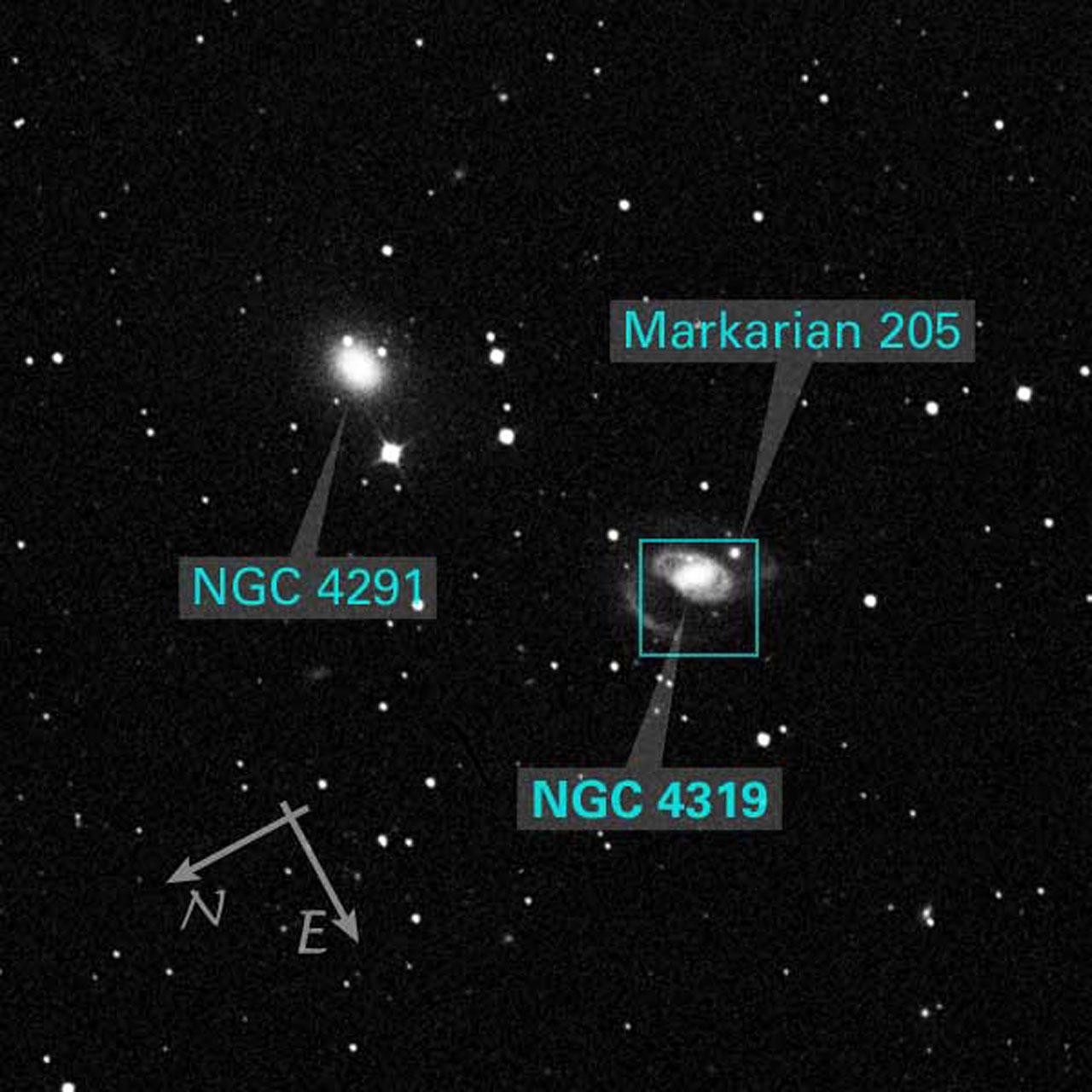 DSS Image of NGC 4319 and NGC 4291 (ground-based image)