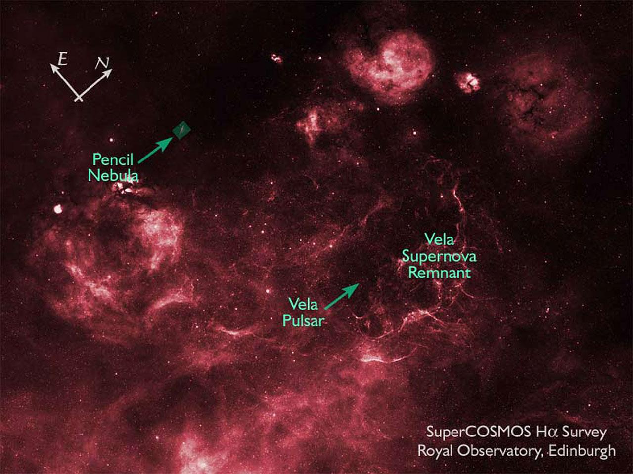 SuperCOSMOS H-alpha Survey (SHS) Image of Vela Supernova Remnant