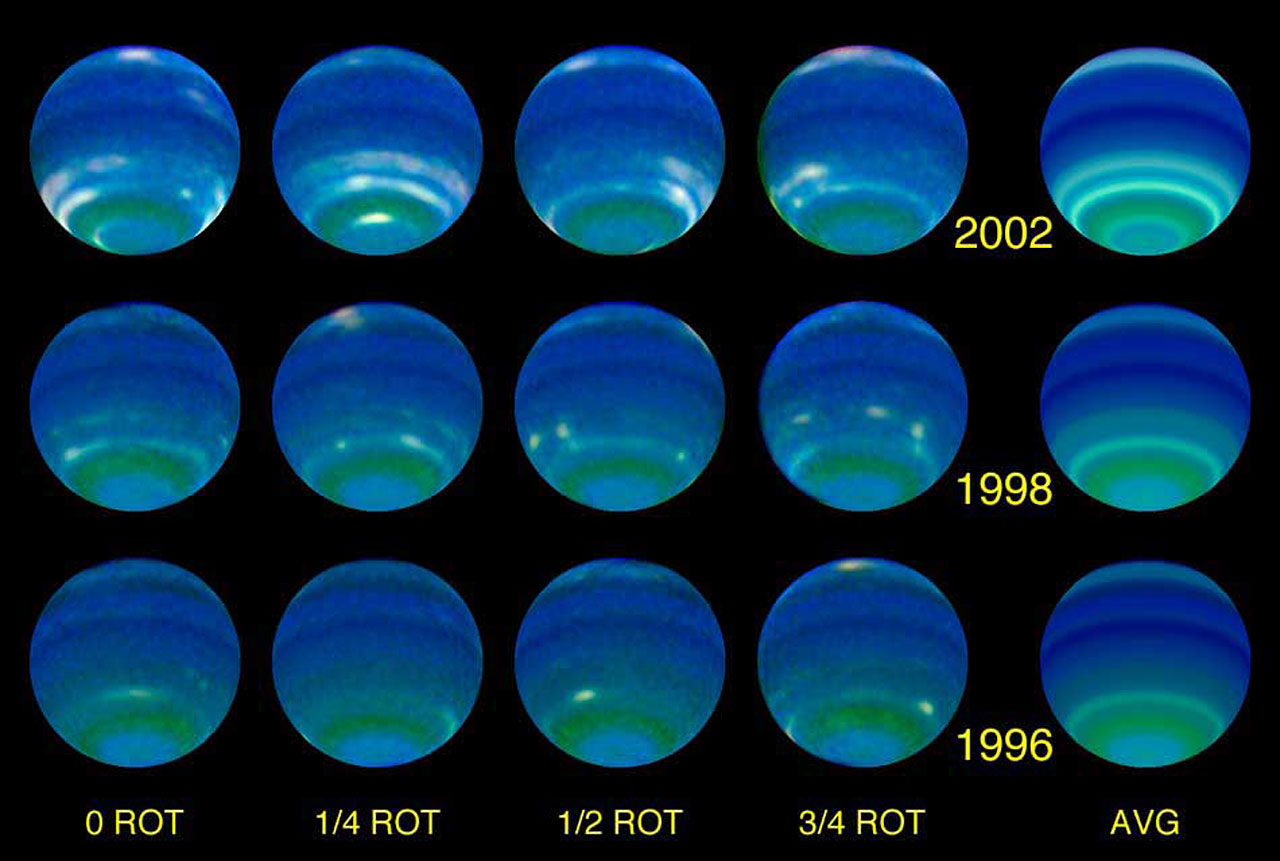 Several Faces of the Planet Neptune at Each Epoch: 1996, 1998 and 2002