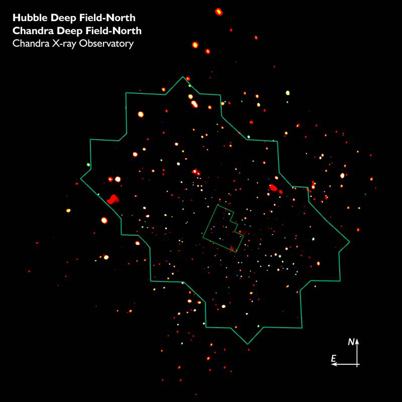 CDF-N CXO Image with Location of ACS Mosaic and WFPC2 HDF-N