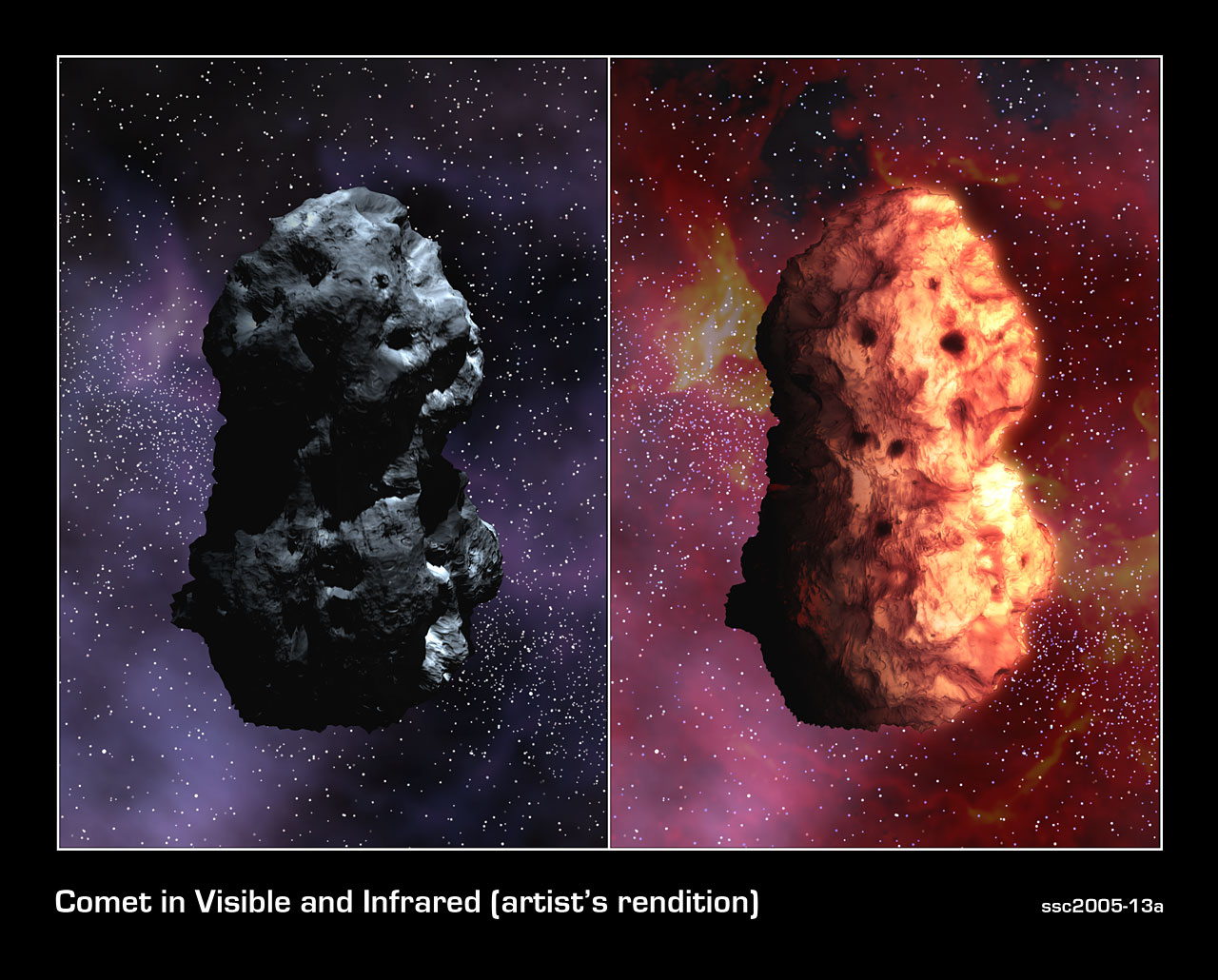 Visible and Infrared Views of Comet Tempel 1 (Artist's Concept)