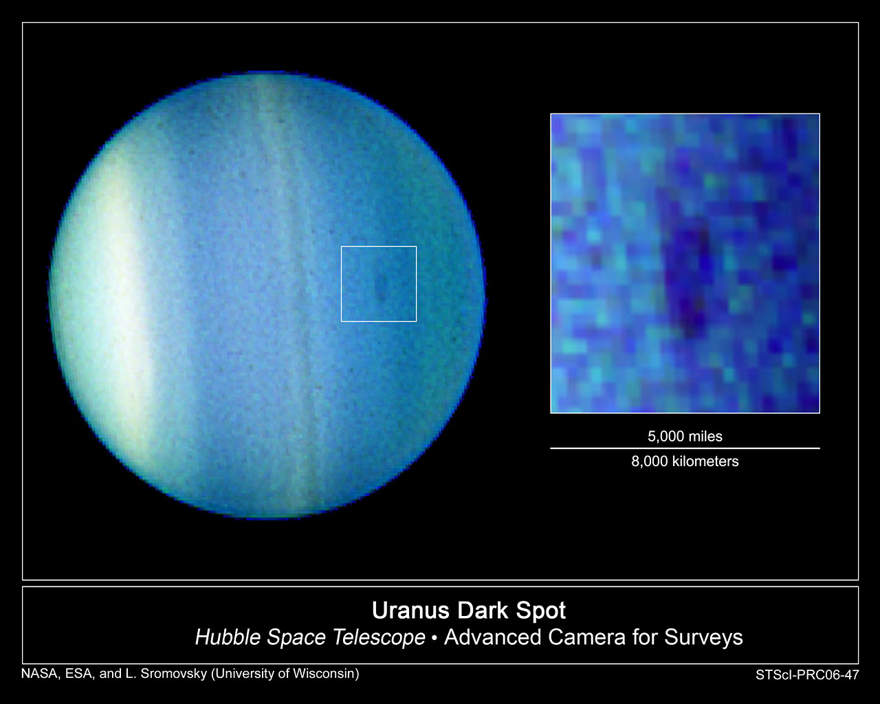 Hubble Discovers Dark Cloud in the Atmosphere of Uranus