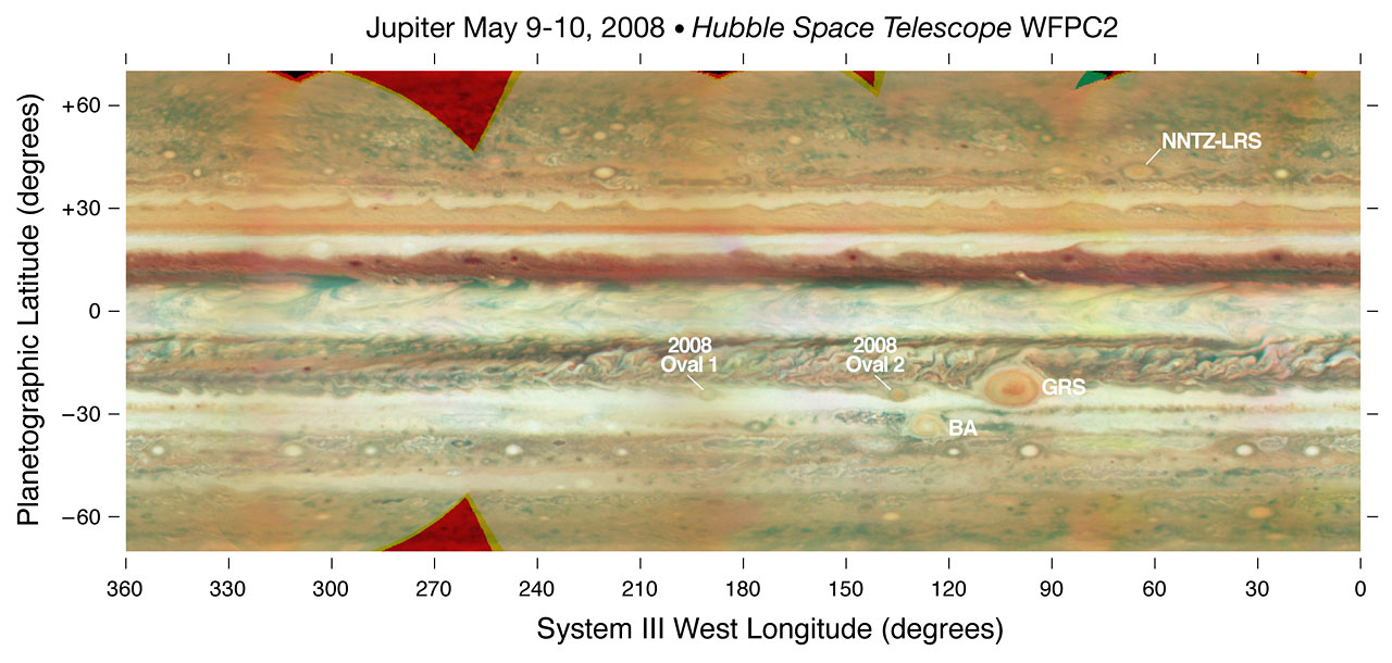 Jupiter Map Annotated ESAHubble