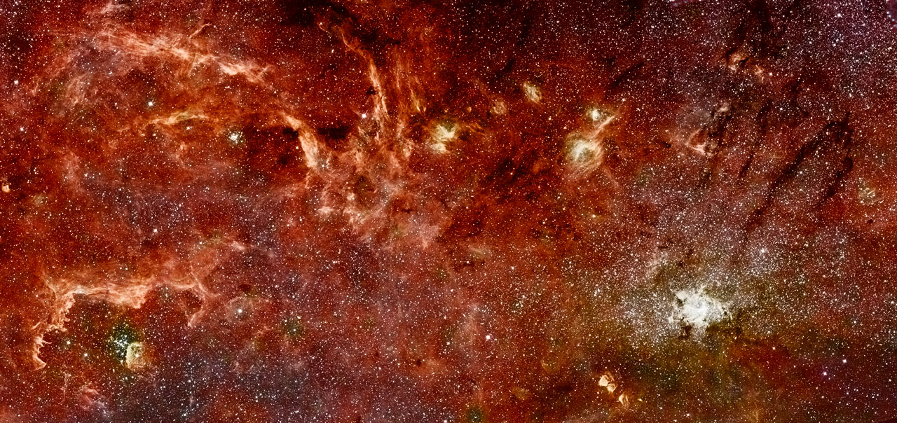 Hubble-Spitzer colour mosaic of the galactic centre