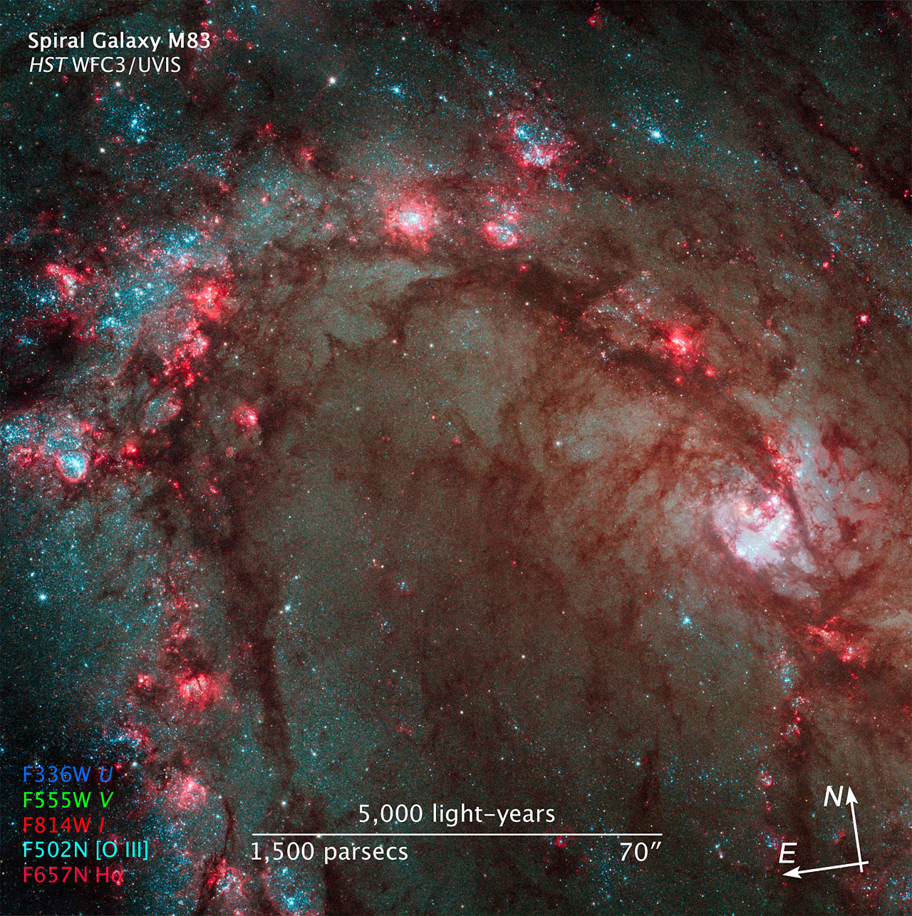 Compass and Scale Image of M83