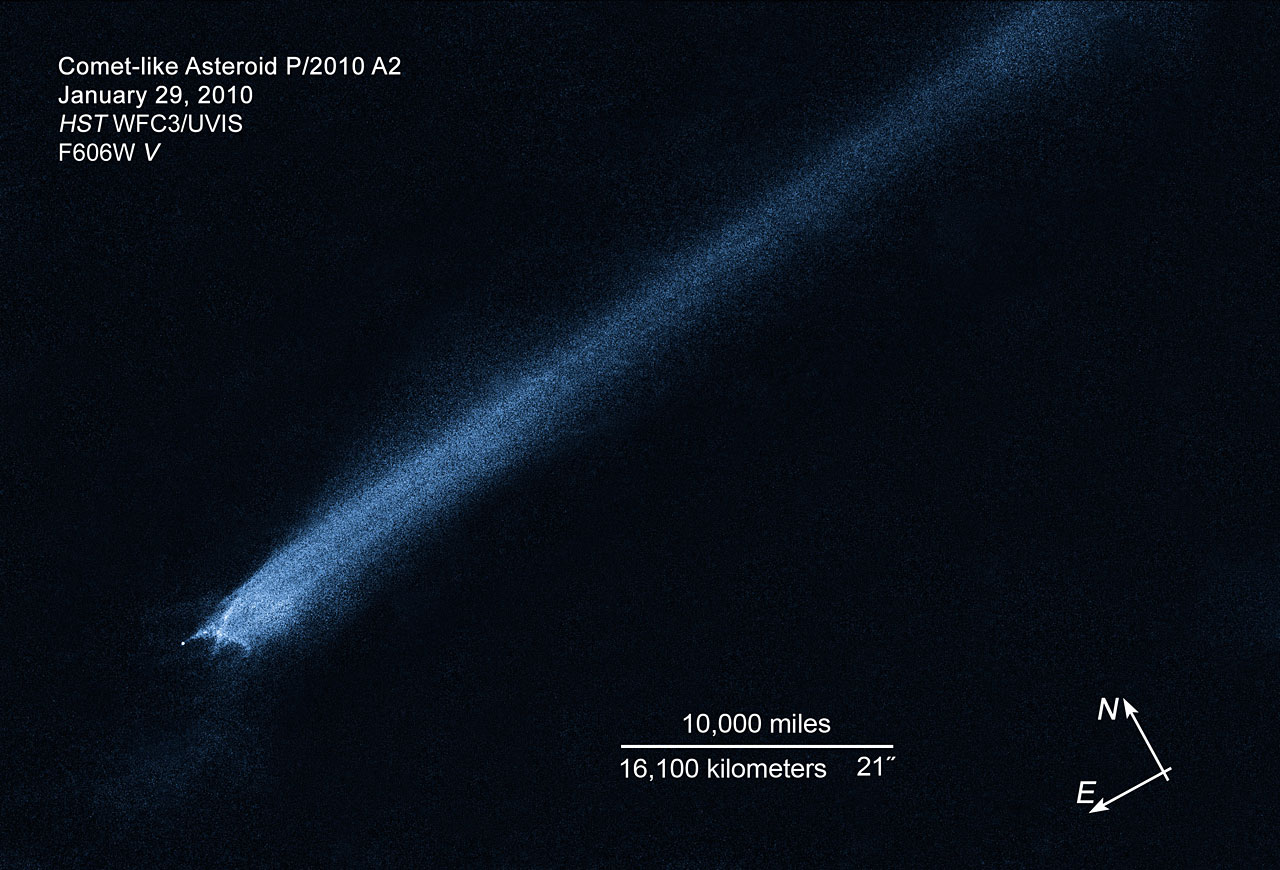 Compass and scale image for comet-like asteroid P/2010 A2