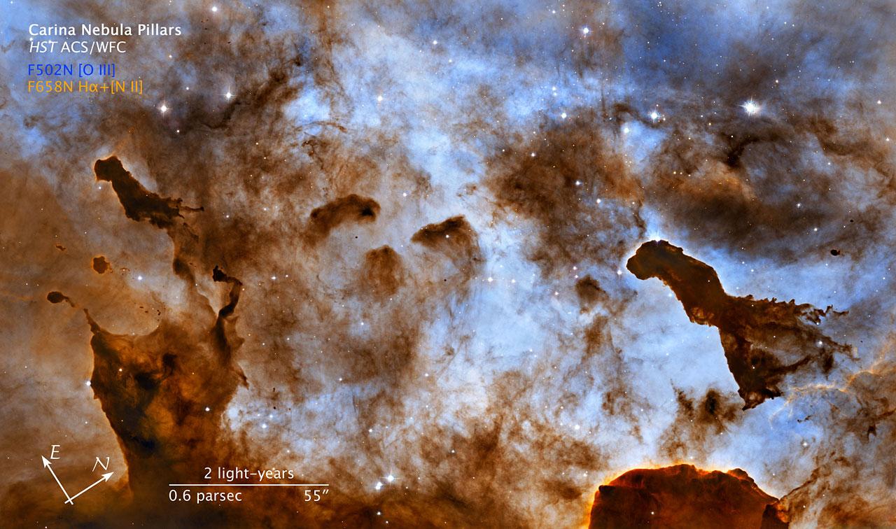 Compass and scale image for Carina Nebula pillars