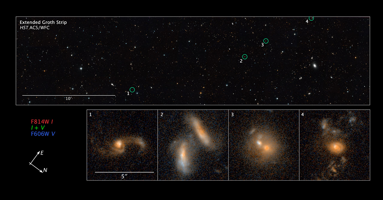 Compass and scale image of merging galaxies in the Extended Groth Strip