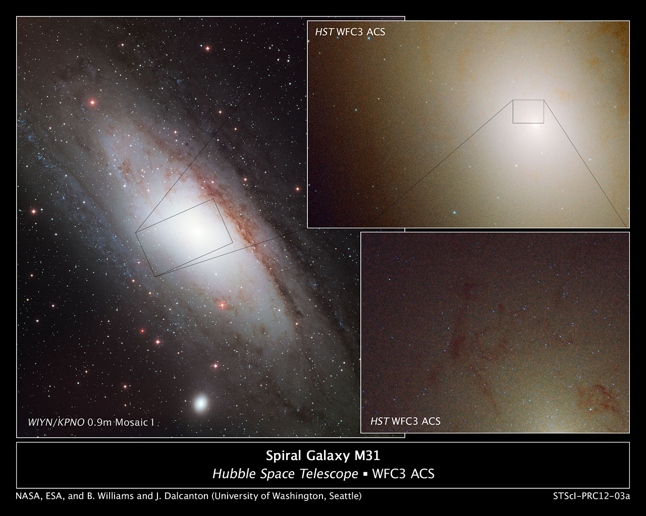 Hubble observes blue stars in Andromeda's core