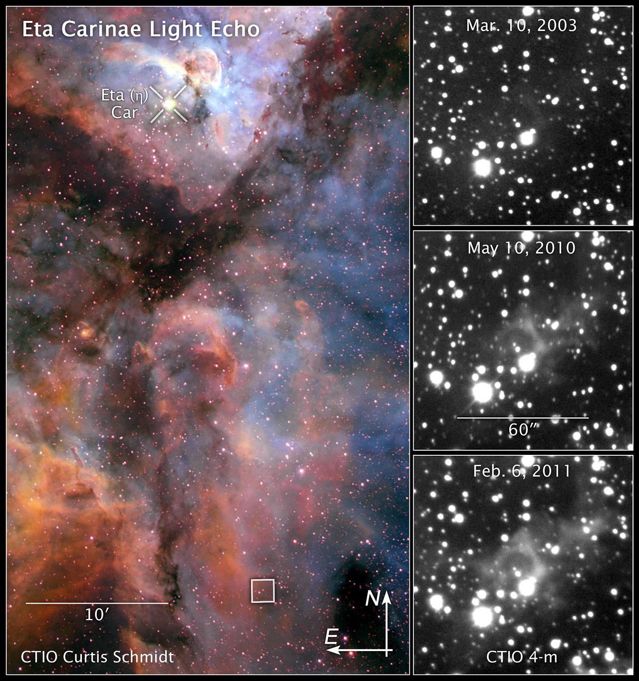 Compass and scale image of Eta Carinae light echo