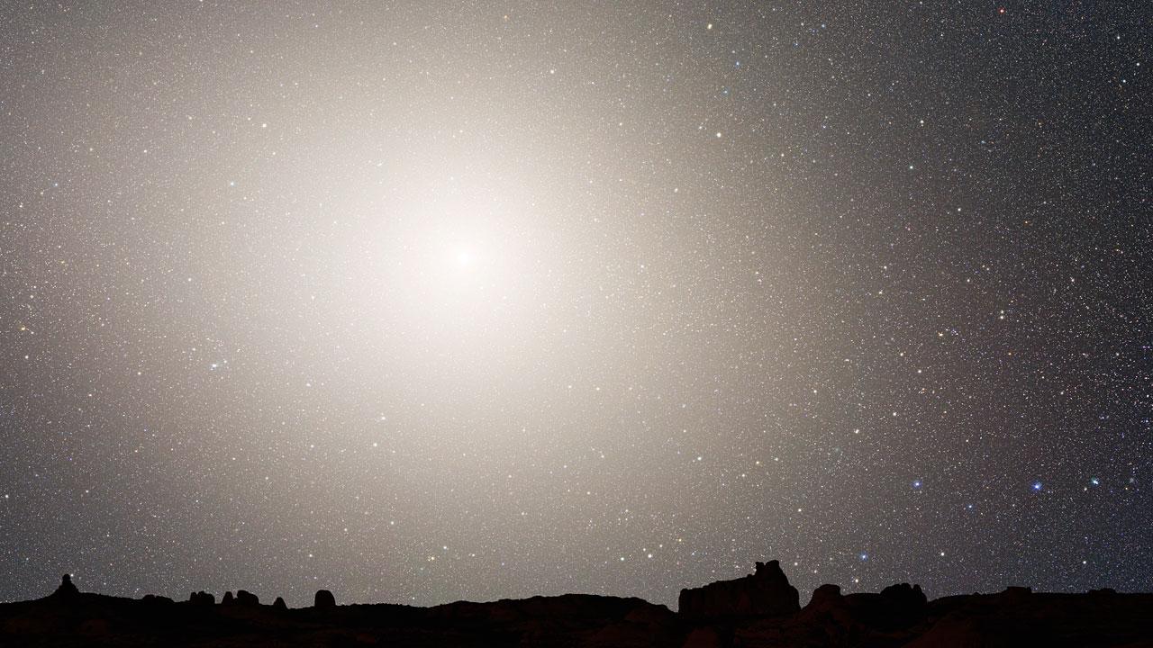 Nighttime Sky View of Future Galaxy Merger: 7 Billion Years