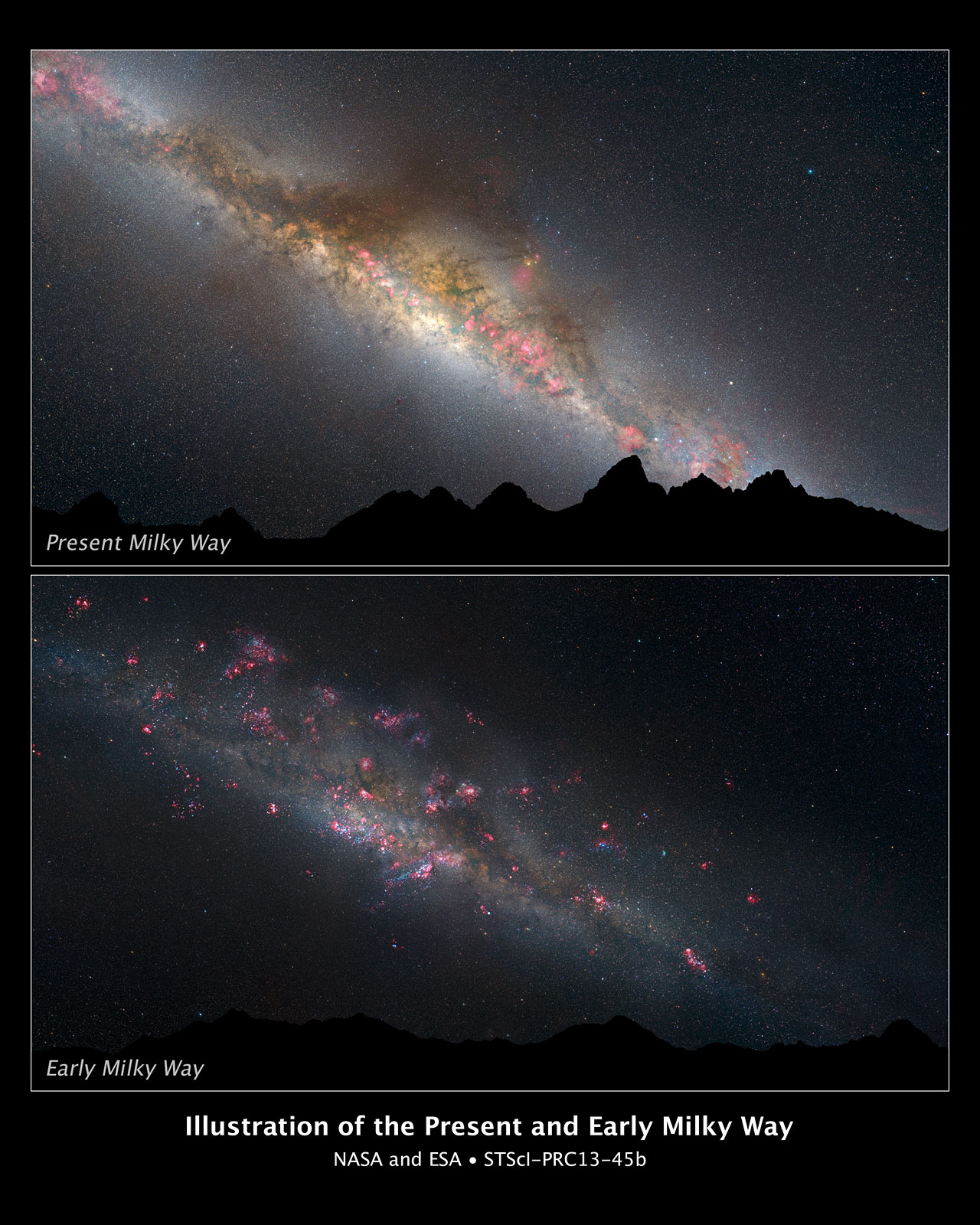 The present and early Milky Way (artist's illustration)