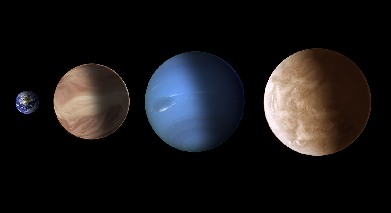Size comparison for exoplanets GJ 436b and GJ 1214b (artist's illustration)