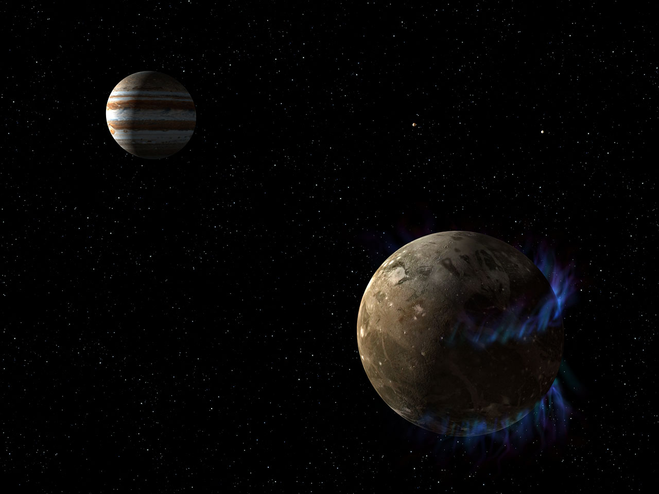 Artist's illustration of aurorae and Ganymede