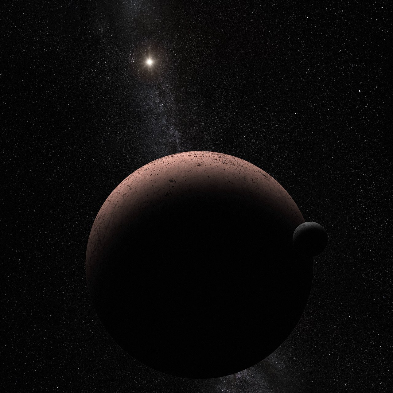 Makemake and Its Moon (Artist's Concept)
