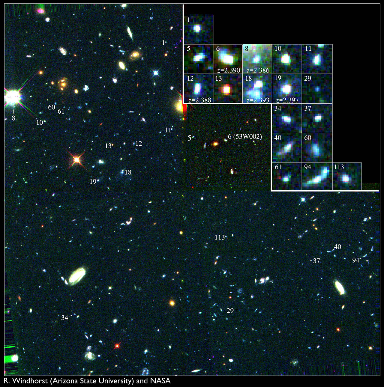 Key to Location of Galactic Building Blocks in Hubble Field
