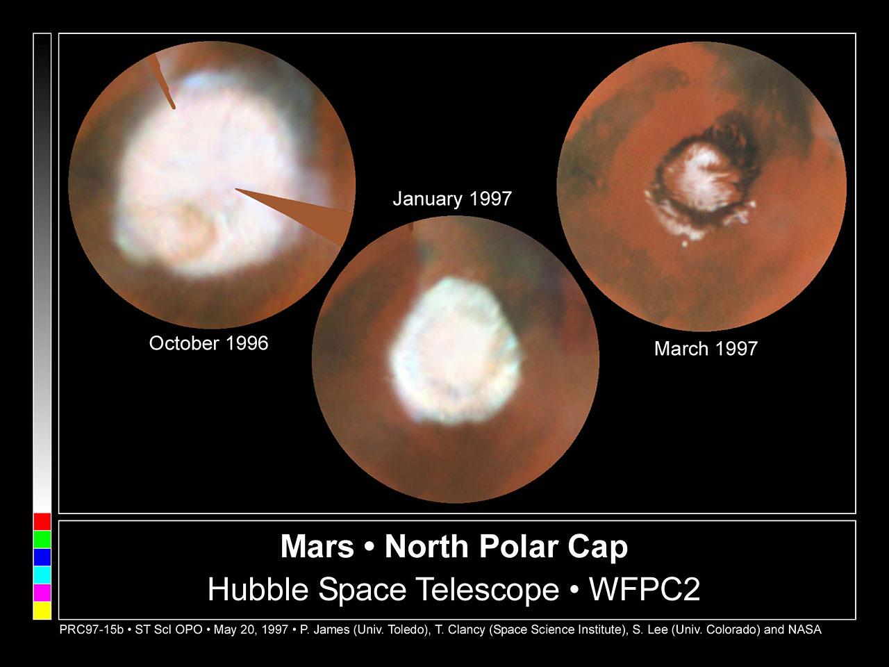 Seasonal Changes In Mars' North Polar Ice Cap