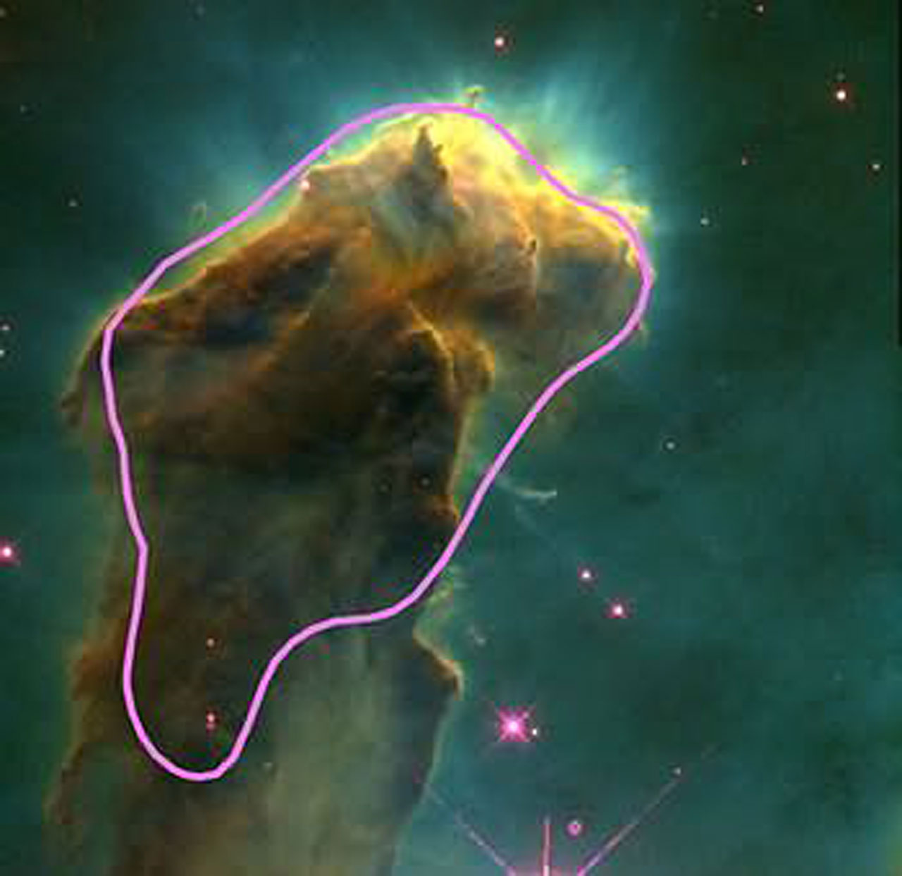 Eagle Nebula with a representation of a giant molecular cloud