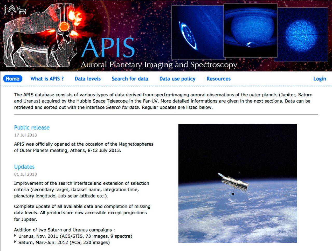 Screenshot of the APIS website